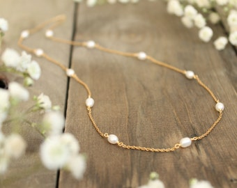 Bridal pearl necklace, bridal jewelry, pearl wedding necklace, freshwater pearl, gold necklace, bridal accessories, simple gold necklace