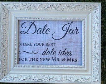Date Jar Share Your Best Date Idea For The New Mr. & Mrs. - FRAME NOT INCLUDED