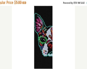 SALE Instant Download Beading Pattern Peyote Stitch Bracelet Day of The Dead Dog Seed Bead Cuff