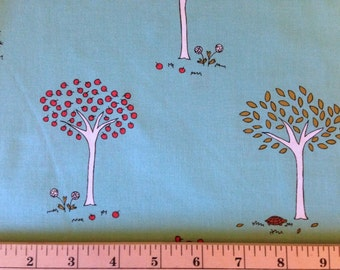 Moda Fabrics - LITTLE APPLES By Aneela Hoey - Fabric - Apple Trees in Aqua - Quilting - Fall - Autumn - Tortoises - Hedgehog - Squirrel