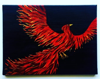 Fire Phoenix Hand-embellished Print on Canvas of an Original Acrylic Painting by Ashley Baldwin!