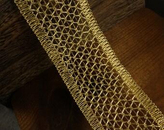 """2-1/2"""" Metallic Gold Braid Trim by 2-yards, MAY-DN6759"""