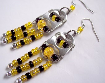 Pittsburgh Steelers Pirates Penguins Pop Tab Earrings Black and Yellow