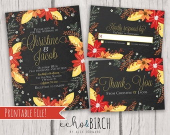 PRINTABLE Customizable Wedding Invitation Set   Autumn Floral Bouquet   Includes Invitation Card, RSVP Card, and Thank You Card