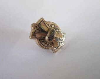 19th C Antique Victorian Gold Filled Engraved Cuff Button Stud Beautiful