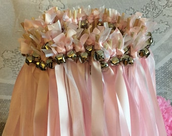 50 Wedding Wands/Wedding Ribbon Wands/Wedding Wand/Wedding Streamers/Pink and White Sheer