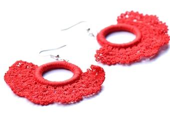 Lipstick Red crochet earrings, Daring red Spanish earrings, Fiber jewelry, Delicate crocheted fan earrings, Flamenco earrings