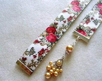 Beautiful Rose Grosgrain Ribbon Bookmark w/Chandelier Charm