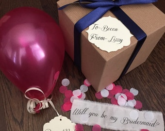 Pearl Magenta- Will you be my bridesmaid? Pop the balloon to reveal your message