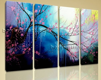 Large Framed Giclee Print High Revolution Plum Blossom Raining Abstract Floral, Large Tree Wall Art, Living Room, Jelly Bean