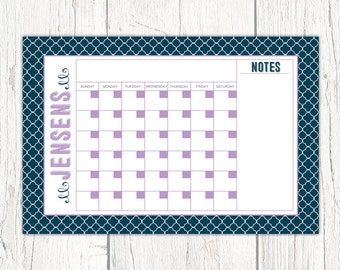 2017 wall calendar, Monthly Printable Calendar or Dry Erase Wall Calendar, College Dorm Room Decor, Graduation Gift for Her