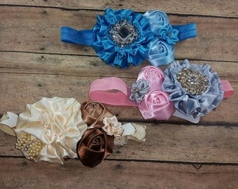 "Flower headbands, Baby shower gift, Newborn headband, Baby headbands, 13"" elastic"