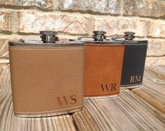1 groomsmen leather flask