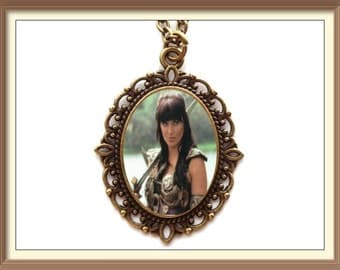 Xena Warrior Princess Inspired Cameo Necklace / Lucy Lawless Gabrielle Renee O'Connor tv