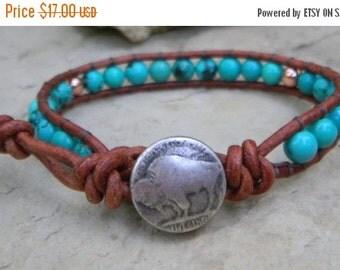 ON SALE Buffalo Copper Turquoise Single Beaded Leather Wrap Bracelet Men's/Women's