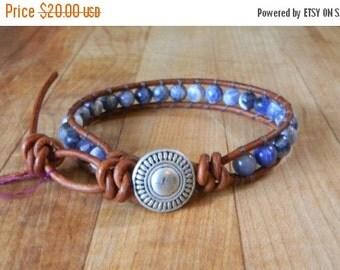 ON SALE Southwest Sodalite Single Beaded Leather Wrap Bracelet Men's/Women's