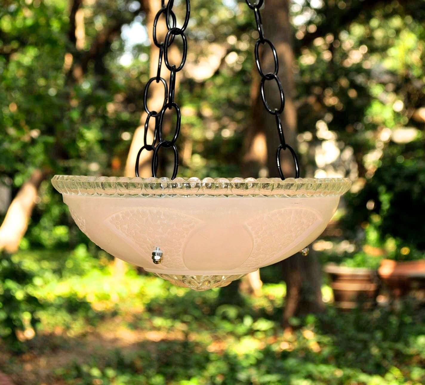 Pink Glass Bird Feeder Hanging Bird Bath By Stellaerwins
