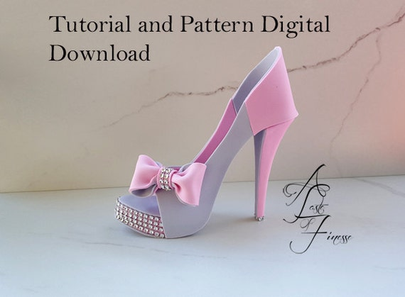 Pdf tutorial and pattern fondant high heel fondant shoe for High heel shoe template craft