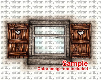 Digital Digi Stamp, Instant Download Cute window Illustration, Line art for Craft Supplies and Cards