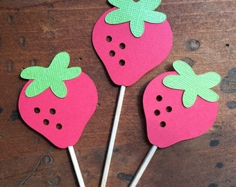 Strawberry Cupcake Toppers | Strawberry Toppers | Picnic Theme Decor | Gingham Theme Decor