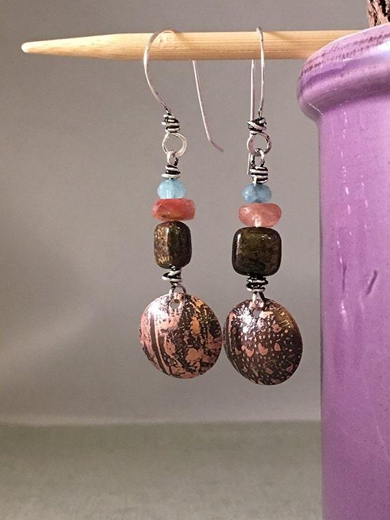 Gemstone Earrings, Etched Metal and Gemstone Earrings, Aquamarine Earrings