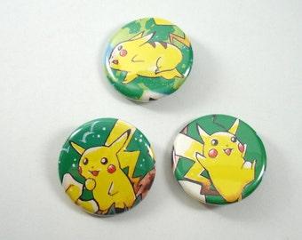 Pokemon Button Set - Pikachu Trio - Set of 3 - Upcycled Pinback Buttons - Pikachu Button - Pokemon Pins - Pokemon Badges