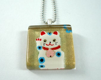 Japanese Chiyogami Paper Pendant - Lucky Cat Necklace - Square Glass Tile Pendant w/Chain - Maneki Neko Necklace - Japanese Necklace