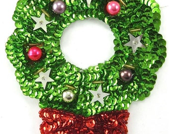 Christmas Wreath with Bow and Large Beads - 2856-0249