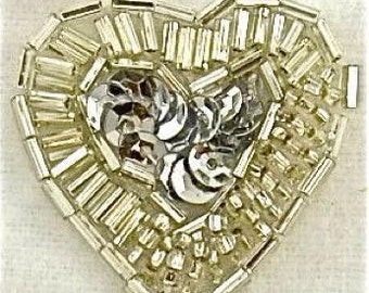 Choice of Color Beaded and Sequin Heart, Silver (0198-1347) Gold (0199-1347)