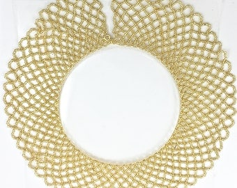 "Gold Beaded Collar Necklace with Clasp 16.5"" Long x 2.5"" Wide - Sku 160"
