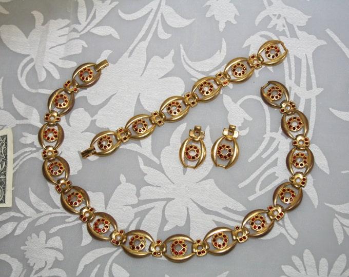 Vintage 3-pcs Set Garnet Rhinestones Czechoslovakia Gold Plated