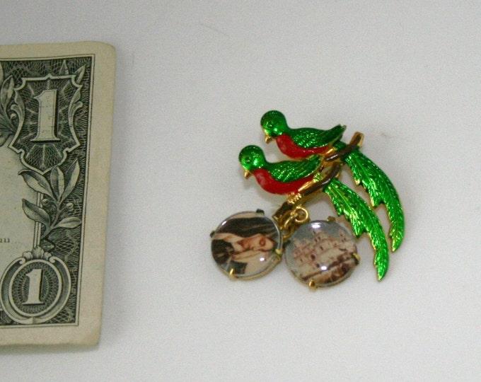 Vintage Religious Enamel Brooch Pin Pendants Virgin Mary