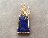 Lapis Lazuli Wire Wrapped Pendant 14K Gold Filled