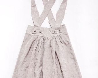 Grey Skirt, Grey High Waisted Skirt, A Line Skirt, A Line Skirt with Pockets, Skirt with Suspenders, Womens Skirt, Mini Skirt