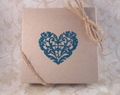 "Teal Floral Heart Embossed Jewelry Gift Box, 4"" x 4"" x 1"" Embossed Gift Box, Jewelry Gift Wrap, Valentines Day, Bridal Party, Shabby Style"