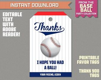 Baseball Party Favor Tag / Baseball Thank you Tag - Baseball Birthday - Baseball Party - Edit and print at home with Adobe Reader