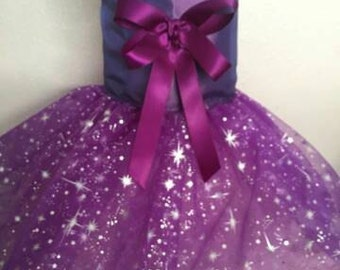 Special Occasion Purple dog dress, Harness, tutu  Pet Apparel, Wedding, Flower girl, Pageant
