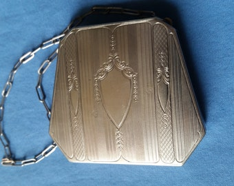 Antique Silver Plated Engraved Compact Dance Purse