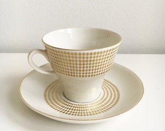 "Raija Uosikkinen, vintage Arabia Finland ""Rio"" coffee cup and saucer"