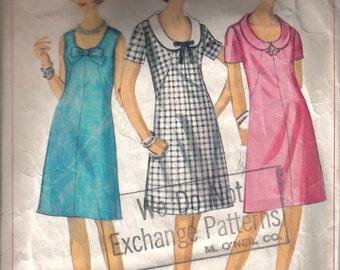 Vintage Simplicity's  Mad Men Classic A Line Dress Pattern 6460 Size 18 1/2  Bust 39 circa 1966