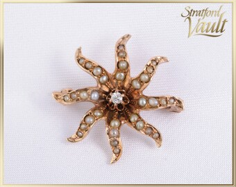 Art Nouveau ~ Pearl & Diamond Sunburst Pin Brooch ~ 10k Yellow Gold ~ European Cut Diamond ~ 32 Seed Pearls ~ STR17314 ~ GIA ~ 700.00