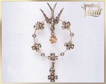 Art Nouveau ~ Seed Pearl Swallow Pendant ~ 10k Yellow Gold ~ 34 Genuine Seed Pearls ~ 0.02ct European Cut Diamond ~ STR17282 ~ GIA ~ 1000.00