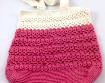 Coral and Cream Colorblocked Crochet Market Bag