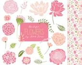 Hand Drawn Pink Flowers Clipart Set + Pattern Background - Instant Download - Logo Design Scrapbooking Blog Graphics, Pretty Floral Clip Art