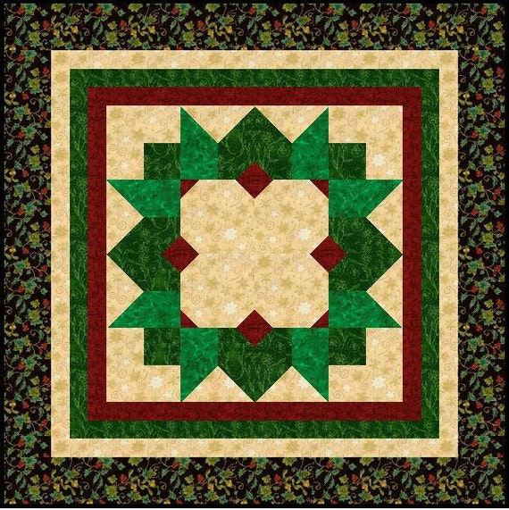 Items similar to pdf format christmas window wreath quilt