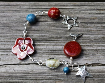Patriotic Bracelet, Red White and Blue, 4th of July