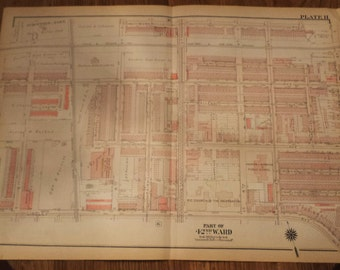Vintage Map, Philadelphia, Urban Planning, Ward 42, Historic City Planning, Antique Maps