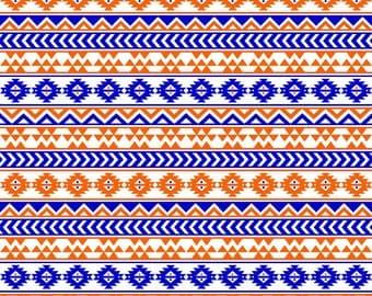 Navy and orange tribal pattern craft  vinyl sheet - HTV or Adhesive Vinyl -  Aztec Peruvian pattern HTV965
