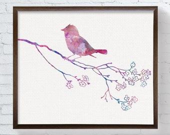 Watercolor Bird Art, Bird Wall Decor, Girls Room Decor, Pink, Sparrow, Girls Wall Art, Bird Painting, Bird Poster, Baby Girl Nursery, Spring