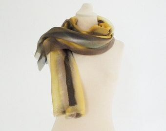 Hand painted silk scarf in golden yellow and brown